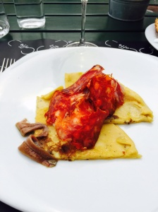 Chickpea Crepe with Anchovies and Chorizo
